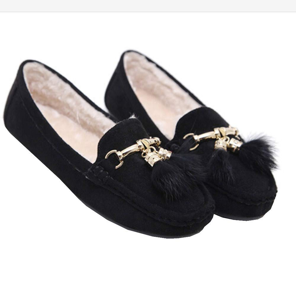 Tantisy ♣↭♣ Girls Soft Cotton Warm Shoes Baby Cute Bow Pea Boots Ladies Casual Tassel Flats Shoes Black