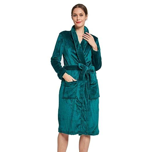 Batas de Lana para Mujer Bata de Felpa Suave Suave para Mujer Bata de baño Pijama cálido Batas de Felpa de Las Mujeres (Color : Verde, tamaño : Metro): ...