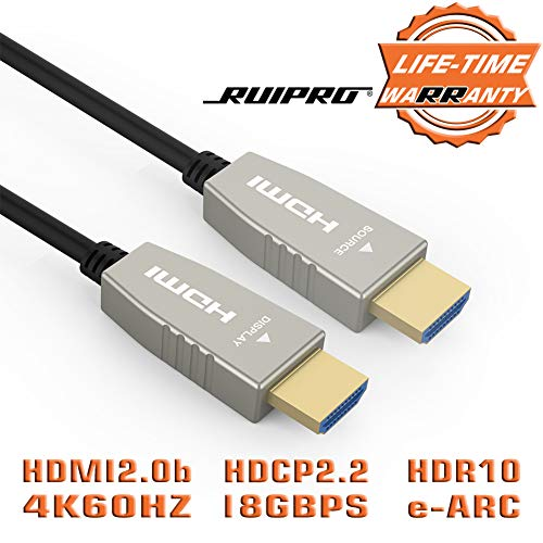 HDMI Fiber Cable RUIPRO 4K60HZ HDR 65 feet Light Speed HDMI2.0b Cable, Supports 18.2 Gbps, ARC, HDR10, Dolby Vision, HDCP2.2, 4:4:4, Ultra Slim and Flexible HDMI Optic Cable with Optic ()