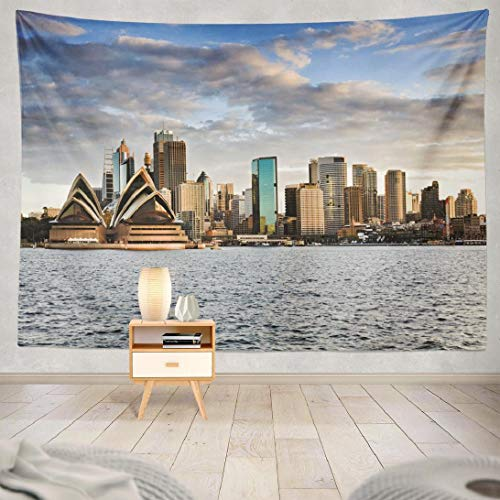 LANURA Cityscape Tapestry Australia Sydney Sunset Sky and Bright Cityscape Line 60x80 Inch Tapestry Wall Hanging Beautiful Cool Wall Art for Bedroom Men Home Decor Polyester Fabric Tapestry (Furniture Outdoor Nsw)