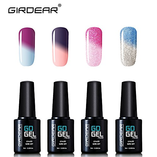 Girdear 4Pcs Gel Nail Polish Soak Off Thermal Temperature Changing Colour UV LED Maniure Gift Set Nail Lacquer Art Kit C003