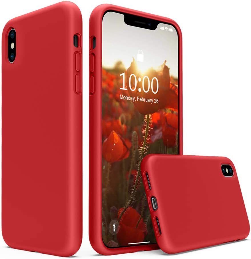 SURPHY Silicone Case Compatible with iPhone Xs Case iPhone X Case 5.8 inches, Liquid Silicone Phone Case (with Microfiber Lining) for iPhone Xs 2018 / iPhone X 2017 (Red)