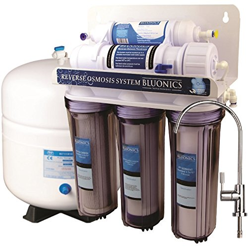 (BLUONICS 5 Stage Undersink Reverse Osmosis Drinking Water Filter System RO Home Purifier with NSF Certified Membrane and Clear Housings)