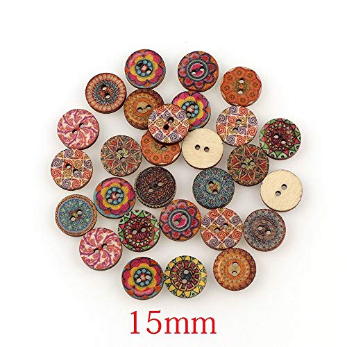 Alexlove 50Pcs Mixed Wood Buttons Vintage Colorful Flowers Scrapbooking Sewing Craft 20Mm Random Mixed Handmade Clothes Decor Buttons Mix 50pcs