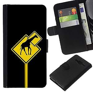 Planetar® Modelo colorido cuero carpeta tirón caso cubierta piel Holster Funda protección Para Samsung Galaxy Core Prime / SM-G360 ( Funny Giraffe Traffic Sign )