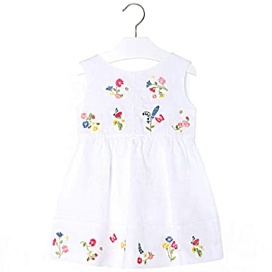 0d2f75dfd04 Amazon.com: Mayoral Kids Girl Linen Embroidered Flower Dress: Clothing