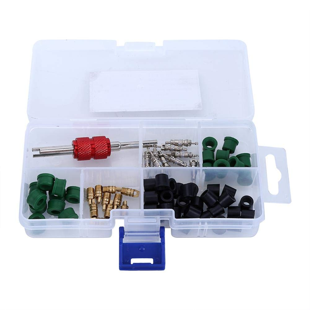 71pcs Air Condition Repair Kit,Acogedor Professional Repair Tool,Include 10pcs Valve Cores+50pcs Hose Gaskets+10pc Valves+1pcs Valve Core Tool