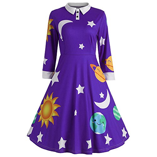 (CharMma Women's Vintage Peter Pan Collar Planet Print A Line Flare Party Dress (Purple, 2XL))