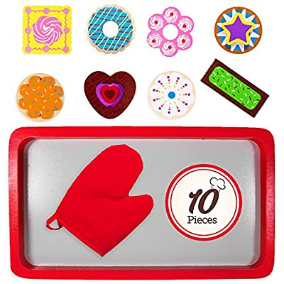 Imagination Generation Wood Eats! Warm Delights Cookie Tray - 8 Whimsical, Colorful Cookies with Oven Mitt: Toys & Games