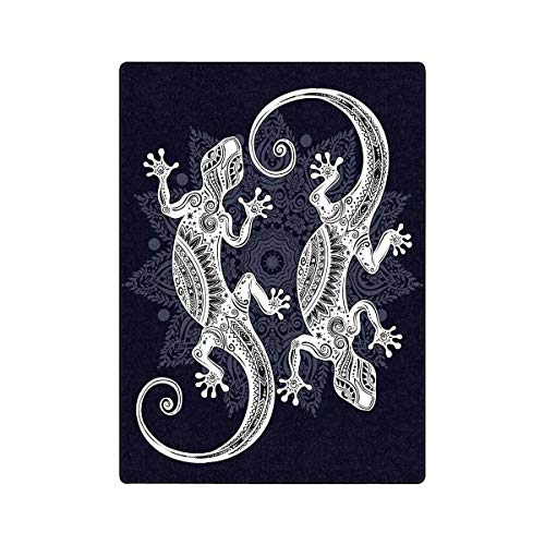 InterestPrint Ornate Gecko Lizard in in Tattoo Style with Boho Luxury Fleece Blanket Extra Soft Warm Lightweight Bed Blanket 58