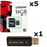 micro sd car 16gb - 5 PACK - Kingston 16GB MicroSD HC Class 4 TF MicroSDHC TransFlash Memory Card SDC16/16GB 16G 16 GB GIGS (M.A16.RTx5.550) LOT OF 5 with USB SoCal Trade© SCT Dual Slot MicroSD & SD Memory Card Reader - Retail Packaging
