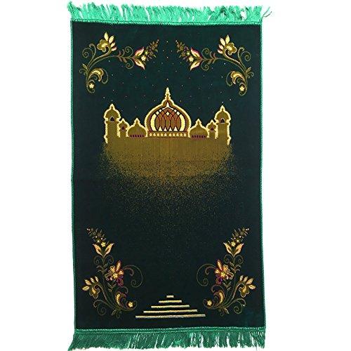 Turkish Islamic Prayer Rug Plush Velvet Janamaz Prayer Mat - Taj Mahal Design ()
