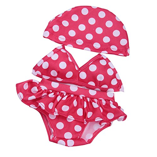 MonkeyJack Adorable Doll Red Dotted Swimsuit Bikini Outfit