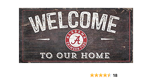Alabama Crimson Tide 6x12 Wood Sign Fans Welcome