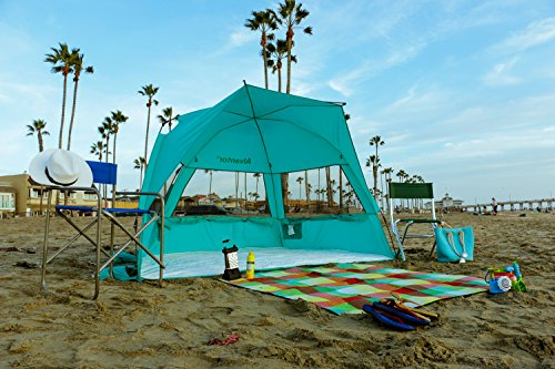 Super BlueCoast Beach Tent Automatic Instant Pop-Up PATENT PENDING Hub Anti-UV Sun shade Tent Portable Outdoor Sun Shelter Cabana 3-4 Person Camping, Fishing, Beach Umbrella for Alvantor