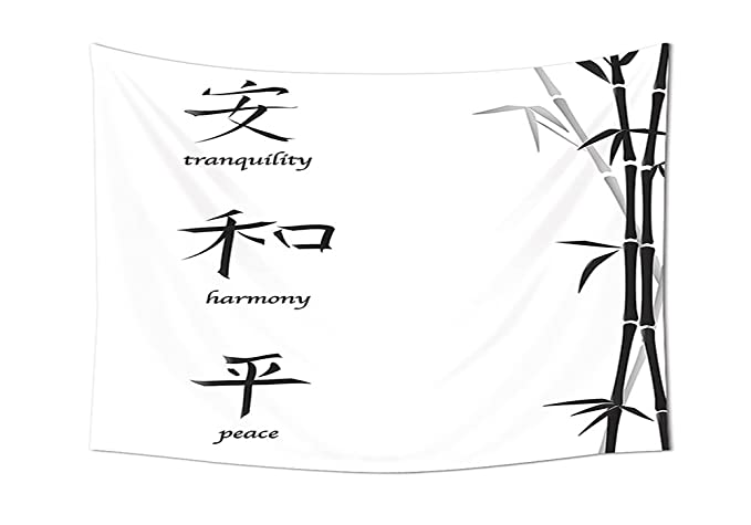 Iprint Bamboo House Decor Collection Illustration Of Chinese Symbols