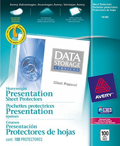 - Avery 74100 Top-Load Poly Sheet Protectors, Heavy Gauge, Letter, Diamond Clear (Box of 100)