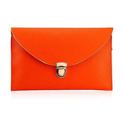 GEARONIC TM Fashion Designer Women Handbag Tote Bag PU Leather Shoulder Ladies Girls Purse Teens for Beach Travel Work Evening Day School Orange