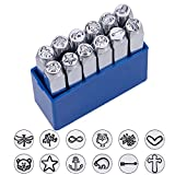 BENECREAT 12 Pack (6mm 1/4'') Design Stamps, Metal Punch Stamp Stamping Tool Case - Electroplated Hard Carbon Steel Tools to Stamp/Punch Metal, Jewelry, Leather, Wood