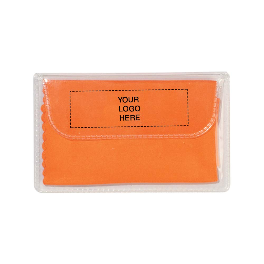 Microfiber Cleaning Cloth in Case | 250 Qty | 0.96 Each | Customization Product Imprinted & Personalized Bulk with Your Custom Logo Orange by Promo Direct