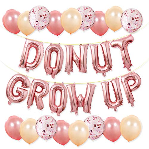 Donut Party Supplies - Donut Grow Up Balloons Banner Rose Gold, 20 Latex Balloons with 5 Confetti Balloons for Baby Shower Donut Grow Up Birthday Party Decorations