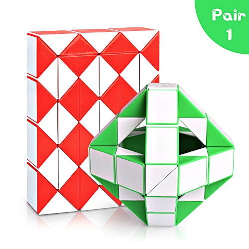 Snake Speed Cube Puzzle Toys 48Parts Twist Magic Ruler Cube Pack Hand Fidget Toy Games Set for Kids Children Adults (Twist Magic)