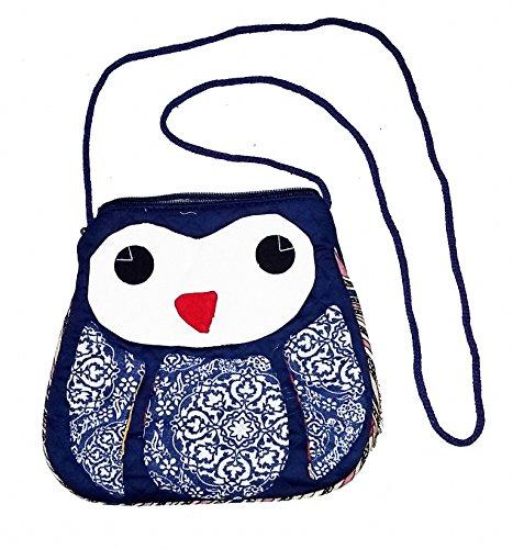 Women Teen Girls Owl Hand Sewn Side Purse (Fabrics May Vary Slightly) (Navy)