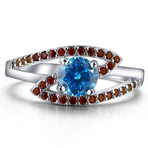 FENDINA Women 18K White Gold Plated Wedding Engagement Band Rings Created Blue Sapphire & Red Cubic Zirconia Anniversary Prom Ring Sizes - Khloe Glasses Kardashian