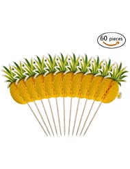 60 Pack Pineapple Cupcakes Party Supplies Toppers Food Picks Party Cocktail Tropical Cupcake Picks Decoration
