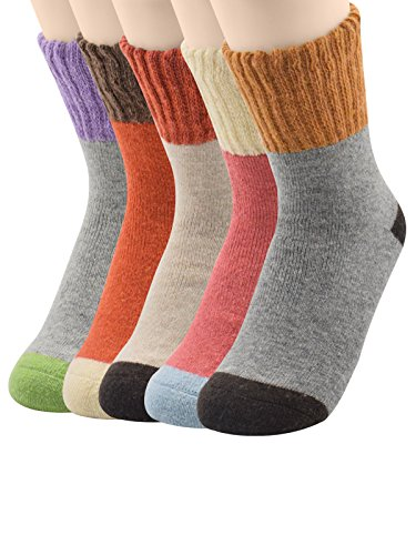 Spring Fever Women's 5 Pairs Super Thick Soft Warm Comfortable Socks Spring fever