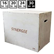 Synergee 3 in 1 Wood Plyometric Box Jump Training Conditioning. Wooden Plyo Box All in One Jump Trainer. Sizes 30/24/20, 24/20/16, 20/18/16, 16/14/12