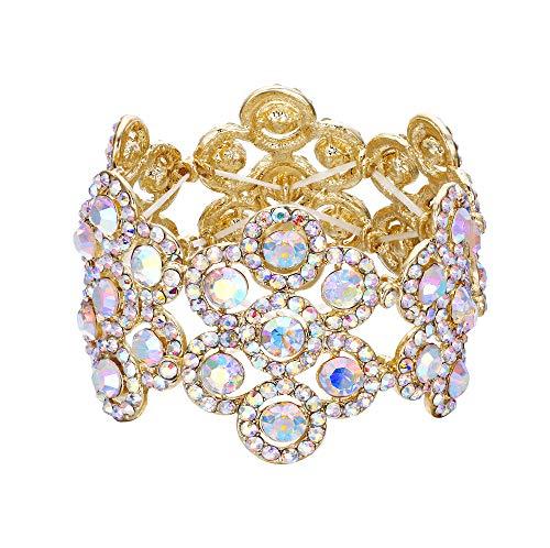 (Flyonce Women's Austrian Crystal Elegant Wedding Bridal Flower Stretch Bracelet for Party Gold-Tone Clear AB)