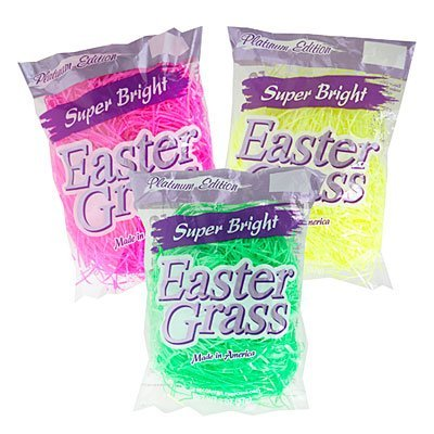 Super Bright Platinum Edition Easter Basket Grass - Set of 3 Bags - Pink, Yellow, and Green -