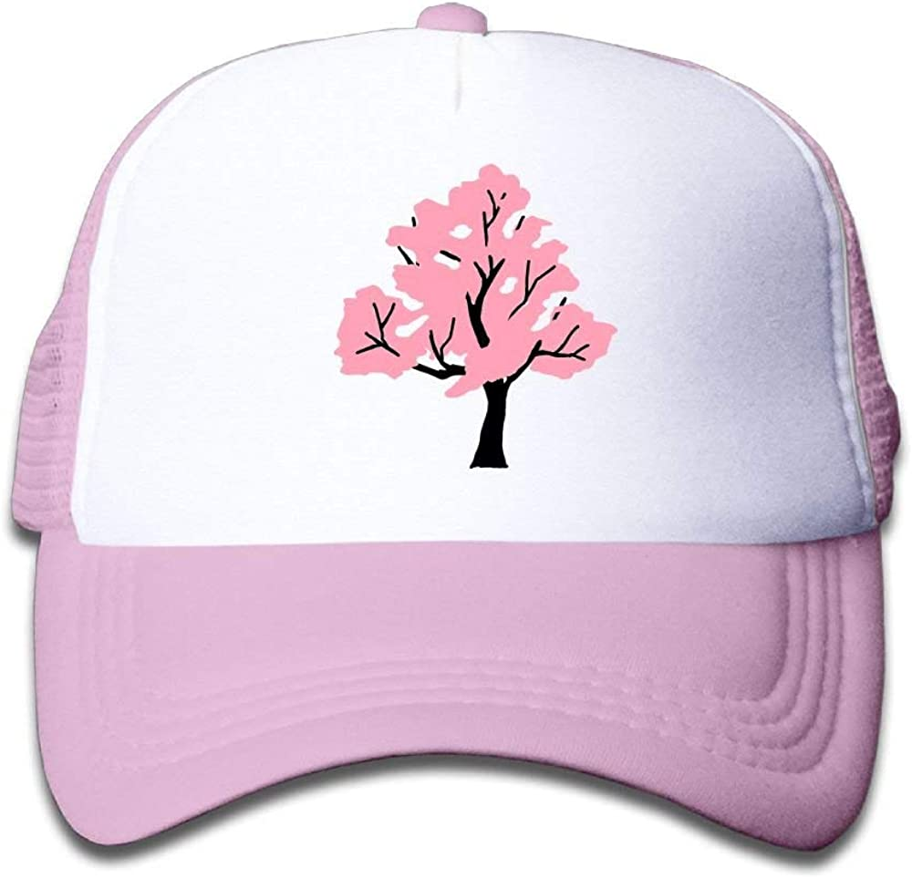 TCJX Mesh Baseball Cap Girls Pink Cherry Blossom Tree Casual Adjustable