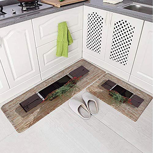 2 Piece Non-Slip Kitchen Mat Rug Set Doormat 3D Print,on an Ancient Stone Wall with Flowers Pienza Tuscany,Bedroom Living Room Coffee Table Household Skin Care Carpet Window Mat,