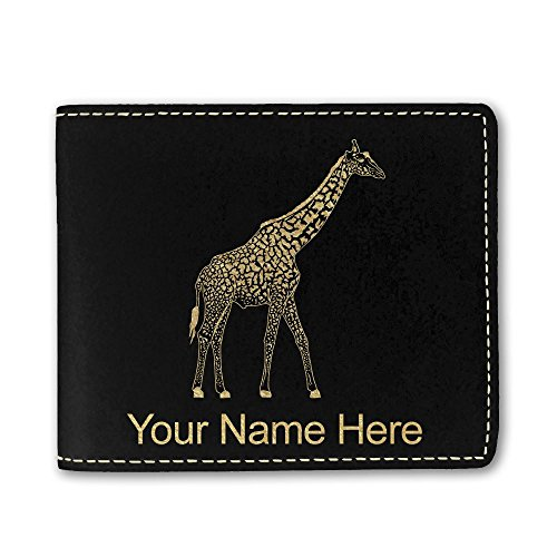 Faux Leather Wallet, Giraffe, Personalized Engraving Included (Black)