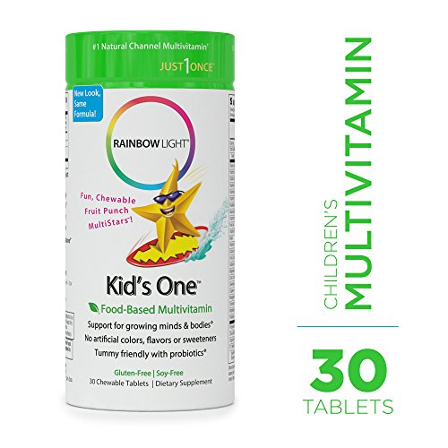 Rainbow Light - Kids One Food-Based Multivitamin - Chewable Probiotic, Vitamin, and Mineral Supplement; Soy and Gluten-Free; Supports Brain, Bone, Heart, Eye and Immune Health in Kids - 30 (Rainbow Light Green)