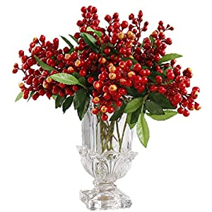 LNHOMY Lannu Red Artificial Berry Stems Fruit Fake Silk Berries for Holly Christmas Festival Holiday and Home Decor, Pack of 10 3