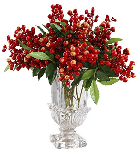LNHOMY Lannu Red Artificial Berry Stems Fruit Fake Silk Berries for Holly Christmas Festival Holiday and Home Decor, Pack of 6 (Berries Holly And)