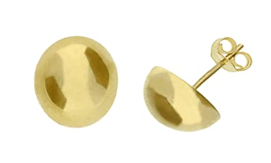 4652928ea Adara 9 ct Yellow Gold 7 mm Polished Dome Stud Earrings: Amazon.co.uk:  Jewellery