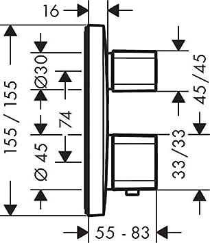 cromo Hansgrohe 15708000 Ecostat E termostato con llave de paso e inversor empotrado