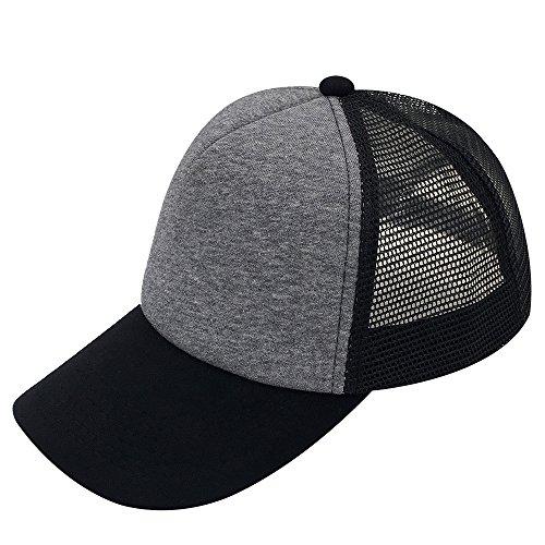 E-forest hair Plain Kids Baseball Cap Youth Mesh Trucker Blank Cap Adjustable Snapback (Black/Medium Grey/Black-1)