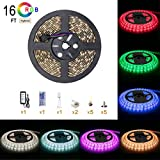 Smd 5050 Led lights strip 16 4 ft 5m RGB Colour Changing 300 LEDs Ip65 Waterproof with 12v Power Supply and 44 key Remote Control for Kitchen for Christmas Kitchen Wall Mirror Home Decora