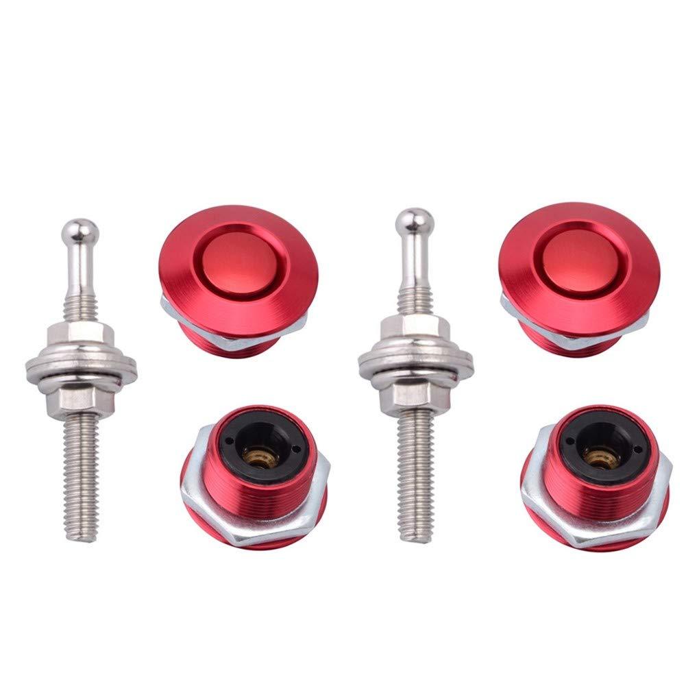 STETION Quick Release Latch License Plate Lock Clip 1.25'' Diameter Aluminum Alloy Car Hood Pins Lock Clip Kit for Bumper Hood License Plate (2 Pack - Red)