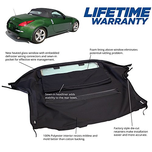 Compatible With Nissan 350Z 2003-2009 Convertible Soft Top & Heated Glass window Black Twill