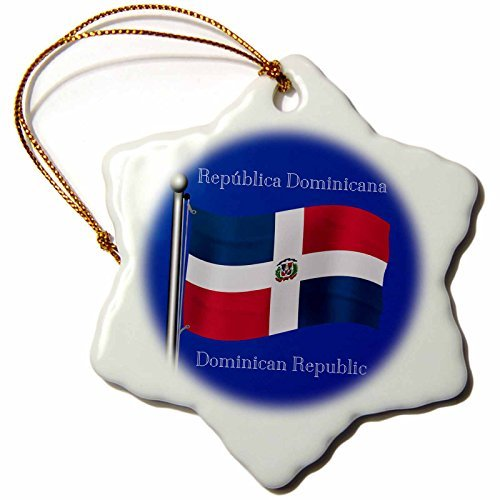 Ornaments to Paint 110019_1 Waving Flag on Dominican Republic with Dominican Republic Printed in English, Spanish-Snowflake Ornament, Porcelain, 3-Inch -
