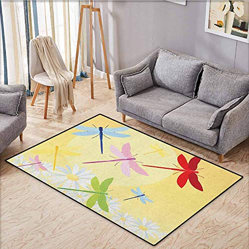 Indoor/Outdoor Rug,Dragonfly,Flower Field in Spring Season with Chamomiles and Sun Figure on The Back Graphic,Ideal Gift for Children,4'7