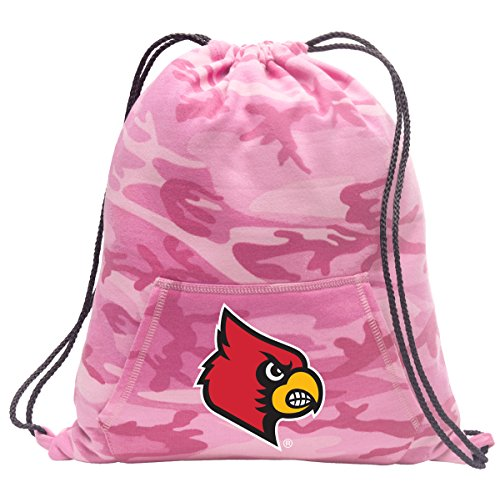 Broad Bay Cute Camo University of Louisville Drawstring Bag Hoody Louisville Cardinals Cinch Pack for Girls & - Cardinals Louisville Ncaa Drawstring