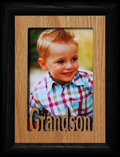 5x7 GRANDSON ~ Portrait BLACK Picture Frame ~ Holds a 4x6 or cropped 5x7 Photo ~ Wonderful Gift for Grandma, Grandpa or Grandparents! ()