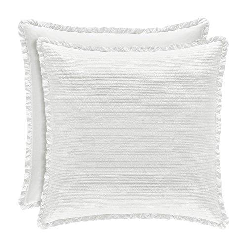 - Five Queens Court Hattie Country Chic 100% Cotton Ruffle Flange Quilted Euro Sham, White